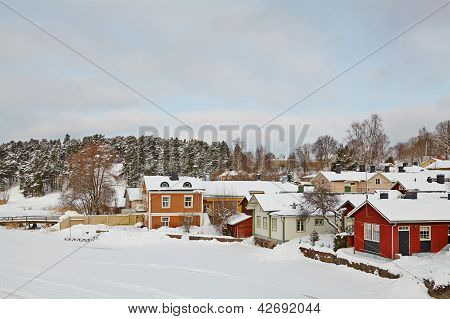 Wooden Houses On The River Coast In Porvoo Town, Finland