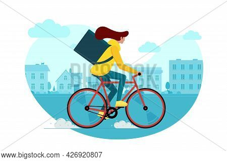 Female Courier With Backpack Box Riding Bicycle And Carries Goods And Food Package On Suburb Street.