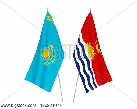National Fabric Flags Of Kazakhstan And Republic Of Kiribati Isolated On White Background. 3d Render