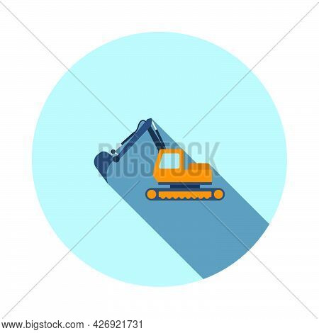 Icon Of Construction Excavator. Flat Circle Stencil Design With Long Shadow. Vector Illustration.