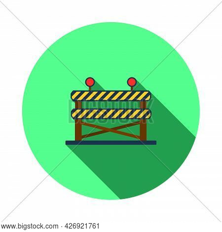 Icon Of Construction Fence. Flat Circle Stencil Design With Long Shadow. Vector Illustration.