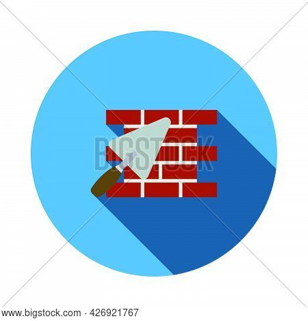 Icon Of Brick Wall With Trowel. Flat Circle Stencil Design With Long Shadow. Vector Illustration.