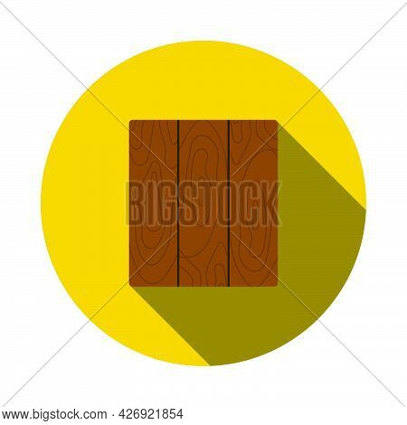 Icon Of Parquet Plank Pattern. Flat Circle Stencil Design With Long Shadow. Vector Illustration.