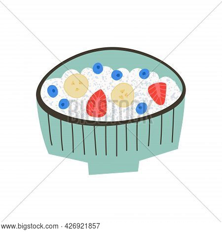 Cottage Cheese With Fruits In A Bowl. Curd Cheese With Strawberry, Blueberry And Banana.