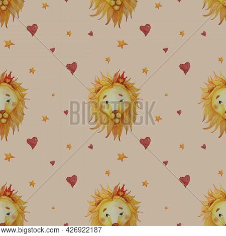Seamless Pattern. Cute Lion With Mane On A Beige Background With Hearts And Stars. Watercolor. Hand