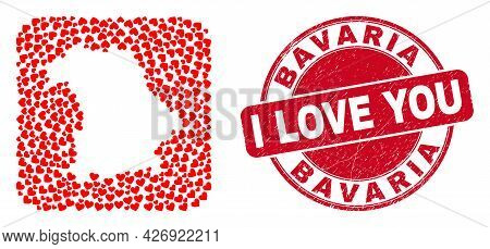 Vector Mosaic Bavaria Land Map Of Love Heart Elements And Grunge Love Seal Stamp. Mosaic Geographic