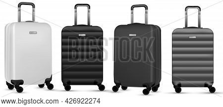 Trip Isolated. Set Of Silver Travel Plastic Suitcase Or Vacation Baggage Bag On White Background. De