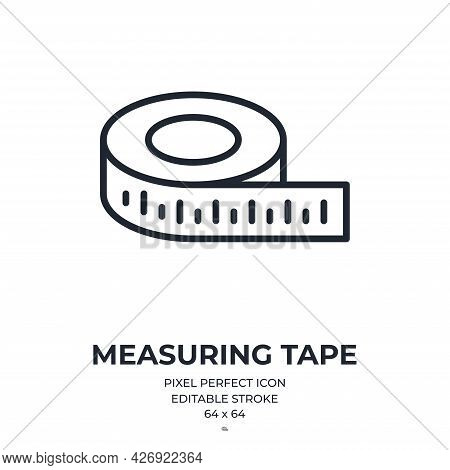 Measuring Tape Editable Stroke Outline Icon Isolated On White Background Flat Vector Illustration. P