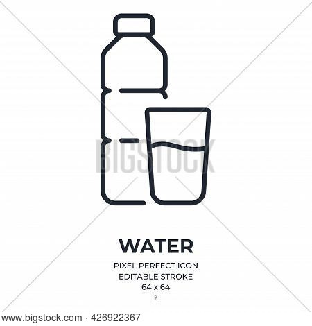 Water Bottle And Glass Editable Stroke Outline Icon Isolated On White Background Flat Vector Illustr