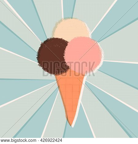 Retro Or Vintage Style Banner. The Ice Cream Cone With 3 Various Taste Scoops, Chocolate, Vanilla An