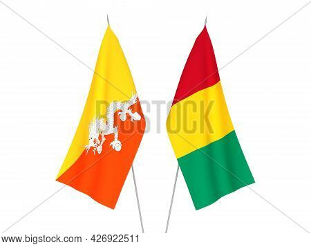 National Fabric Flags Of Guinea And Kingdom Of Bhutan Isolated On White Background. 3d Rendering Ill
