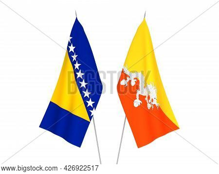 National Fabric Flags Of Bosnia And Herzegovina And Kingdom Of Bhutan Isolated On White Background.