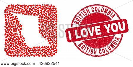 Vector Collage British Columbia Map Of Love Heart Items And Grunge Love Seal. Collage Geographic Bri