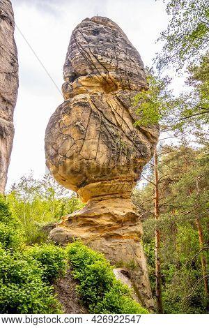 Sandstone Mushroom Rock Formation. Klokocske Rocks In Bohemian Paradise, Czech Republic