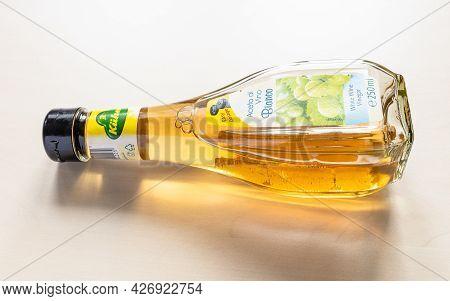 Moscow, Russia - June 10, 2021: Kuehne White Wine Vinegar Bottle. The Vinegar Distillery Founded In