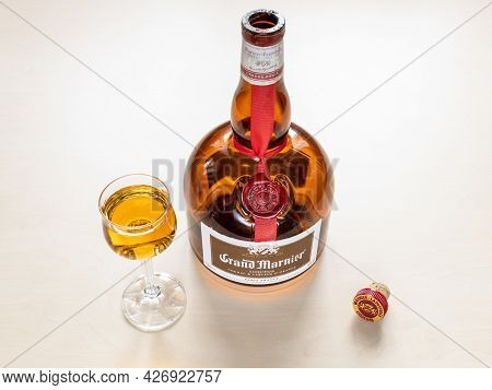 Moscow, Russia - June 10, 2021: Glass With Grand Marnier Cordon Rougen Orange-flavored Liqueur Creat