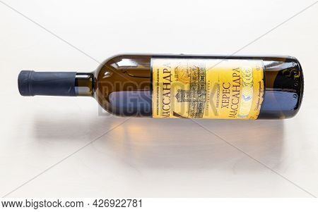 Moscow, Russia - June 10, 2021: Bottle With Aged Fortified Wine Massandra Sherry From Massandra Crim