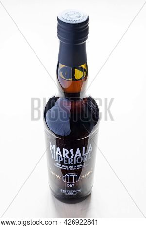 Moscow, Russia - June 10, 2021: Closed Bottle Of Dry Superior Marsala From Cantine Pellegrino. Marsa