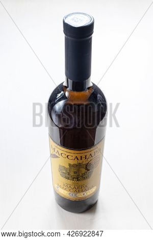 Moscow, Russia - June 10, 2021: Closed Bottle With Aged Fortified Wine Massandra Madera From Massand