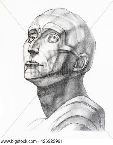 Academic Drawing - Study Of Plaster Cast Of Niccolo Da Uzzano Head Hand-drawn By Graphite Pencil On