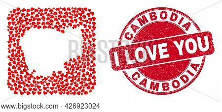Vector Collage Cambodia Map Of Lovely Heart Elements And Grunge Love Stamp. Collage Geographic Cambo