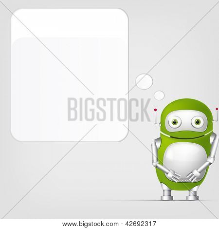 Cartoon Character Cute Robot on Grey Gradient Background. Wall. Vector EPS 10.