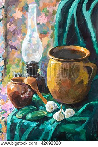 Still Life With Ceramic Pots And Kerosene Lamp Hand-painted By Tempera Paints On White Paper