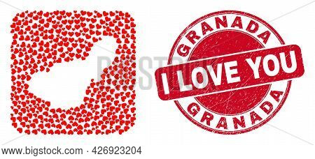 Vector Mosaic Granada Province Map Of Lovely Heart Items And Grunge Love Stamp. Mosaic Geographic Gr