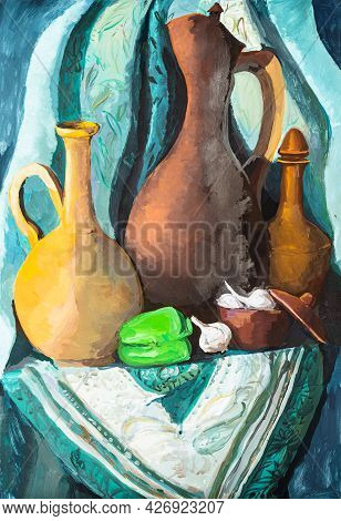 Still Life With Clay Jugs And Vegetables On Green Cloth Painted By Tempera Paints On White Paper