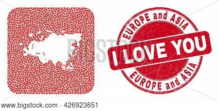 Vector Collage Europe And Asia Map Of Love Heart Items And Grunge Love Badge. Collage Geographic Eur