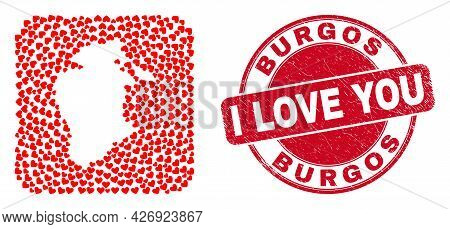 Vector Mosaic Burgos Province Map Of Valentine Heart Elements And Grunge Love Seal. Mosaic Geographi
