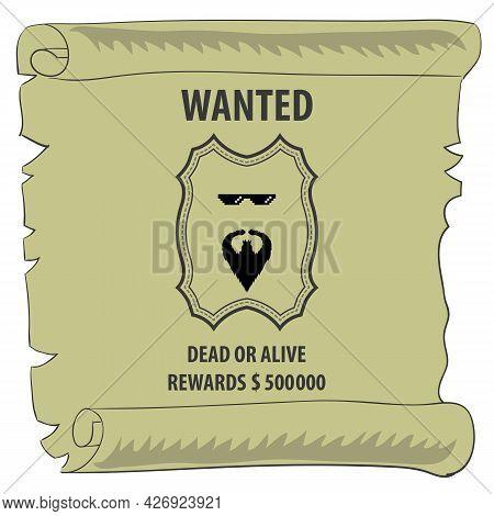 Wild West Vintage Banner. Paper Sign. Retro Poster. Dead Or Alive