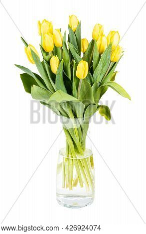 Bouquet Of Yellow Tulips In Glass Vase Isolated On White Background
