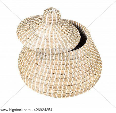 Moroccan Wicker Basket From Seagrass With Ajar Lid Isolated On White Background