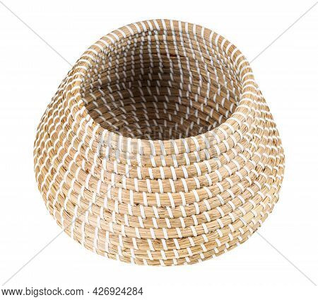 Open Empty Moroccan Wicker Basket From Seagrass Isolated On White Background