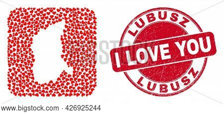 Vector Mosaic Lubusz Voivodeship Map Of Love Heart Items And Grunge Love Badge. Collage Geographic L