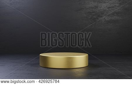 Golden One Cylinder Product Stage Podium Table On Black Cement Background. Abstract Minimal Fashion