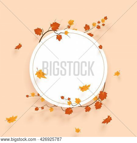 Fall Background With Leaves. Autumnal Free White Frame.