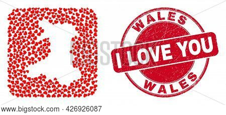 Vector Mosaic Wales Map Of Lovely Heart Items And Grunge Love Seal Stamp. Collage Geographic Wales M