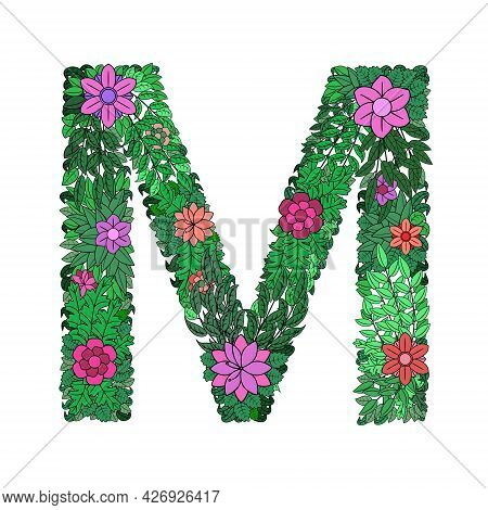 The Letter M - Bright Element Of The Colorful Floral Alphabet On A White Background. Made From Flowe