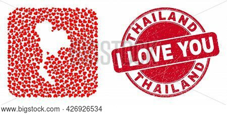Vector Mosaic Thailand Map Of Valentine Heart Items And Grunge Love Seal. Mosaic Geographic Thailand