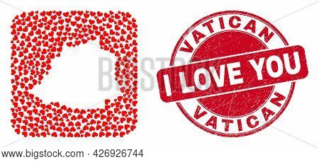 Vector Collage Vatican Map Of Love Heart Elements And Grunge Love Badge. Collage Geographic Vatican