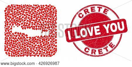 Vector Collage Crete Map Of Valentine Heart Items And Grunge Love Badge. Collage Geographic Crete Ma