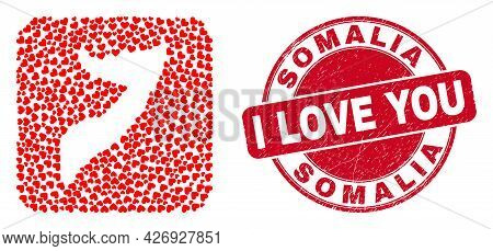 Vector Collage Somalia Map Of Love Heart Elements And Grunge Love Stamp. Collage Geographic Somalia