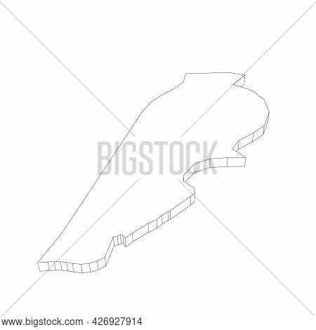Lebanon - 3d Black Thin Outline Silhouette Map Of Country Area. Simple Flat Vector Illustration.
