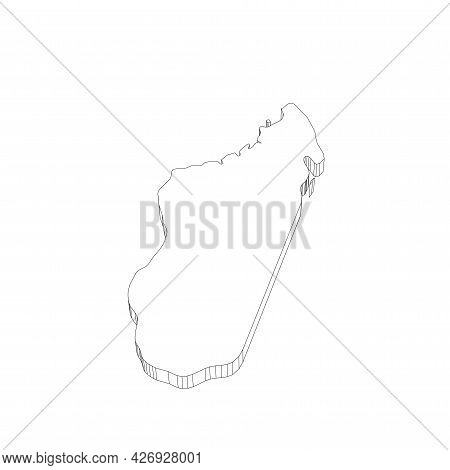 Madagascar - 3d Black Thin Outline Silhouette Map Of Country Area. Simple Flat Vector Illustration.