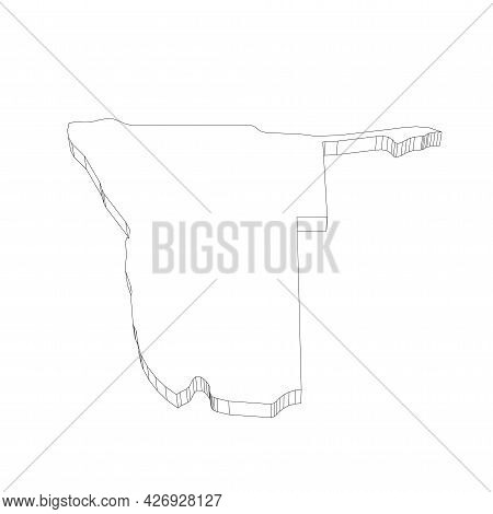 Namibia - 3d Black Thin Outline Silhouette Map Of Country Area. Simple Flat Vector Illustration.