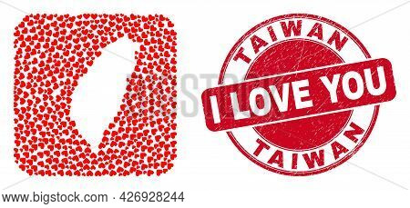 Vector Mosaic Taiwan Map Of Love Heart Items And Grunge Love Seal Stamp. Mosaic Geographic Taiwan Ma