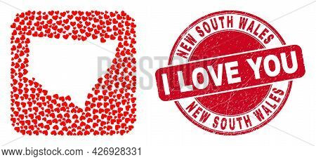 Vector Mosaic New South Wales Map Of Valentine Heart Items And Grunge Love Stamp. Mosaic Geographic