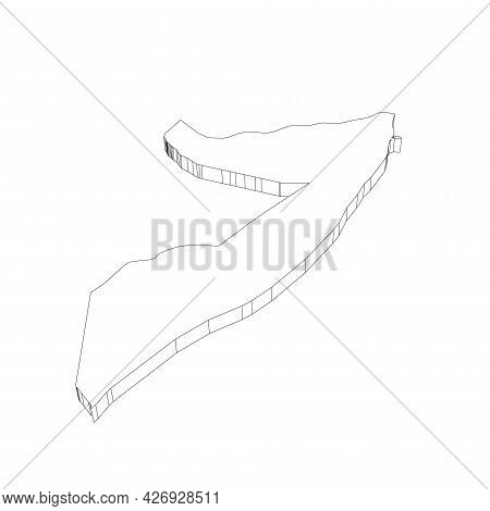 Somalia - 3d Black Thin Outline Silhouette Map Of Country Area. Simple Flat Vector Illustration.
